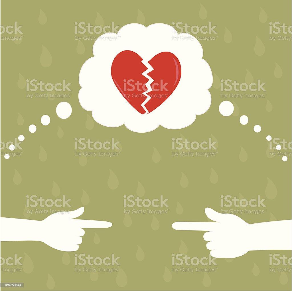 Blame for a broken heart royalty-free stock vector art