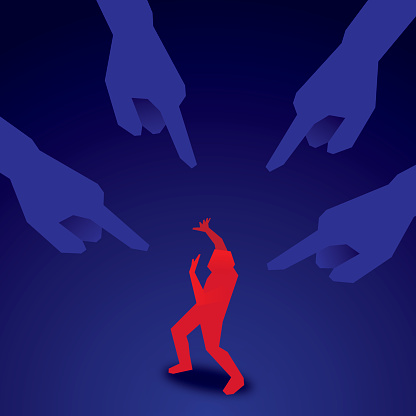 Vector illustration of a man in red cowering as blue fingers point at him.