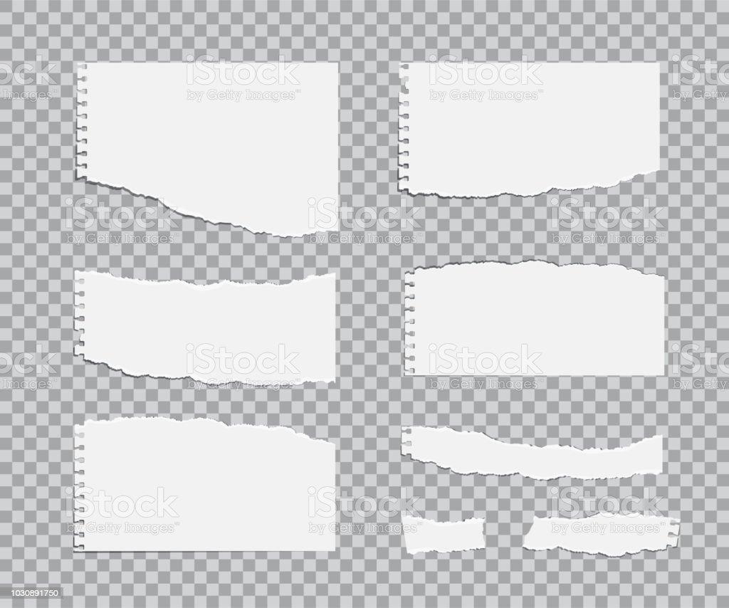 Conjunto de hojas de papel Blanc rasgado. Elementos de diseño realista vector. - ilustración de arte vectorial