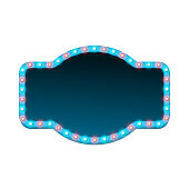 Blank 3d retro light banner with shining lights. Blue sign with blue and red bulbs and dark blank space for text. Advertising street signboard. Vintage frame with glow. Colorful vector illustration.