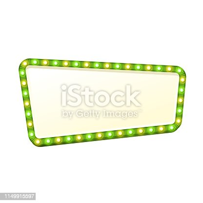 Blank 3d retro light sign with shining bulbs isolated on white background. Green street signboard with yellow and green marquee glowing lights. Advertising frame with glow Colorful vector illustration