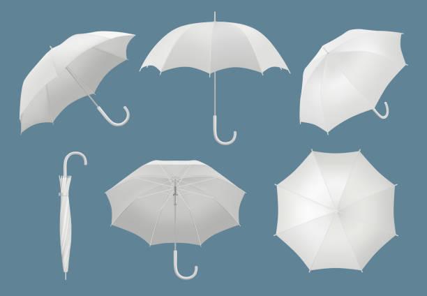 illustrazioni stock, clip art, cartoni animati e icone di tendenza di ombrello 3d vuoto. modello realistico di vettore ombrello pioggia protetto impermeabile - mockup outdoor rain