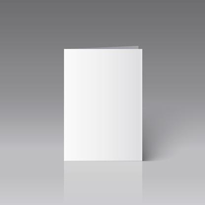 Blank A4 brochure mockup on grey background. Vector Illustration.