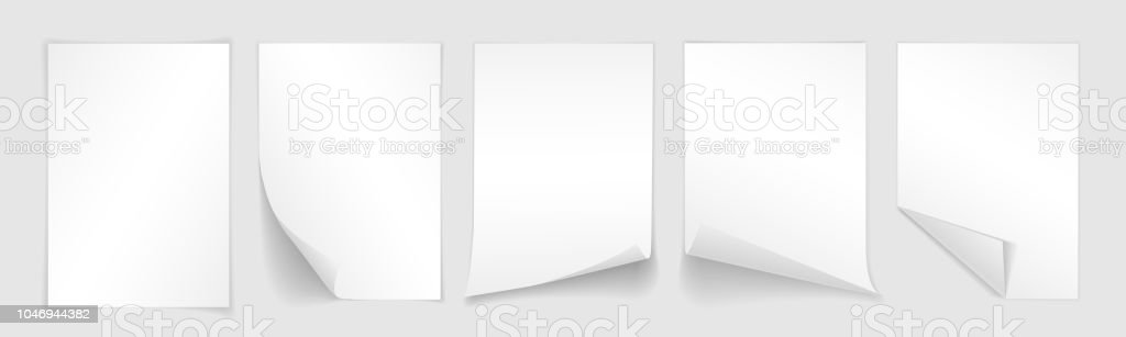 blank a4 sheet of white paper with curled corner and shadow template