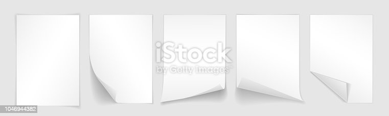 Blank A4 sheet of white paper with curled corner and shadow, template for your design. Set. Vector illustration.
