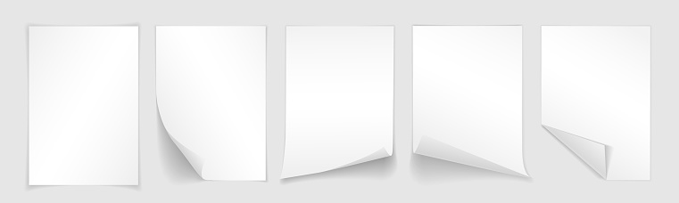 Blank A4 Sheet Of White Paper With Curled Corner And Shadow Template For Your Design Set Vector Illustration - Stockowe grafiki wektorowe i więcej obrazów Artykuł biurowy