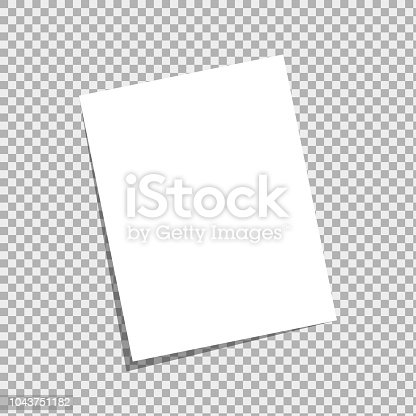 Blank a4 white sheet with peeled corner and realistic shadow.