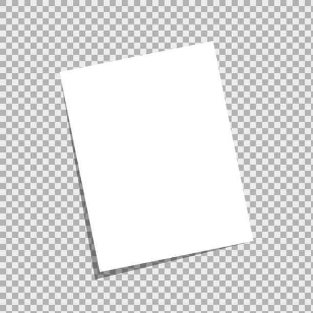 blank a4 white sheet with peeled corner and realistic shadow. - formularz dokument stock illustrations