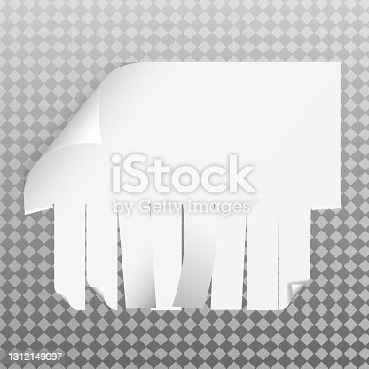 istock Blank advertisement with tear off tabs. V 1312149097