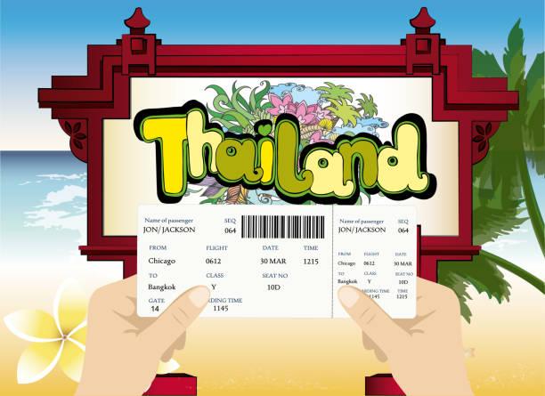 leere airline, die bordkarte in der hand - pattaya stock-grafiken, -clipart, -cartoons und -symbole