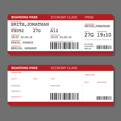 Blank Airport Boarding Pass Template Stock Illustration ...