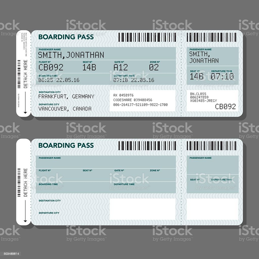 Blank Airport Boarding Pass Template vector art illustration