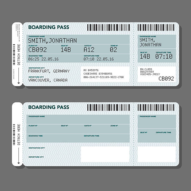 blank airport boarding pass template - airplane ticket stock illustrations