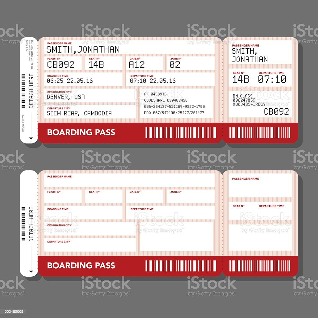 blank airport boarding pass template stock vector art more images