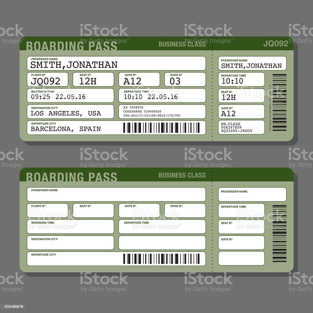 Blank Airport Boarding Pass Template Royalty Free Stock Vector Art