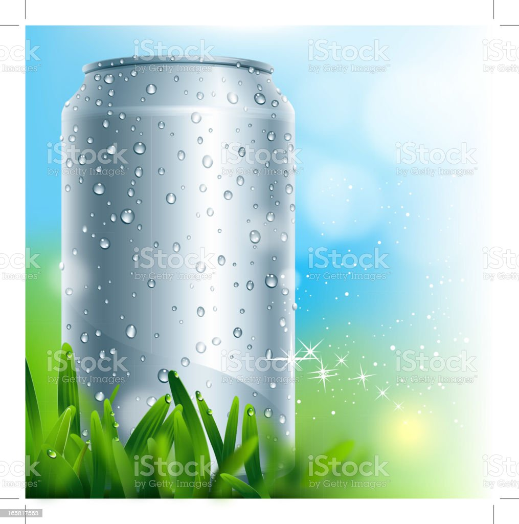 blank aluminium can with water drop vector art illustration
