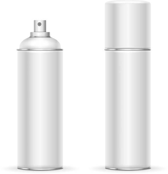 Blank aluminum spray can. Template metalllic hairspray, deodorant bottle vector Blank aluminum spray can. Template metalllic hairspray, deodorant bottle vector. aerosol can stock illustrations