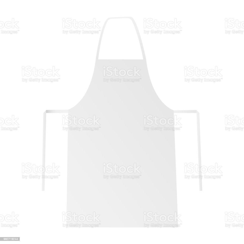 Blank apron mockup isolated on white backround vector art illustration