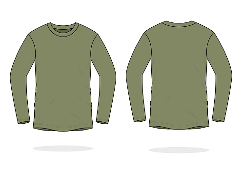 Blank Army Long Sleeve T-Shirt Vector For Template