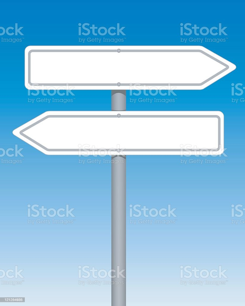 Blank arrow road signs against a blue and white background vector art illustration