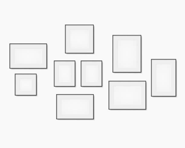 illustrazioni stock, clip art, cartoni animati e icone di tendenza di blank art frame set - muro