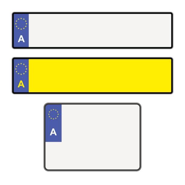 blank austrian licence plates - nummernschilder stock-grafiken, -clipart, -cartoons und -symbole
