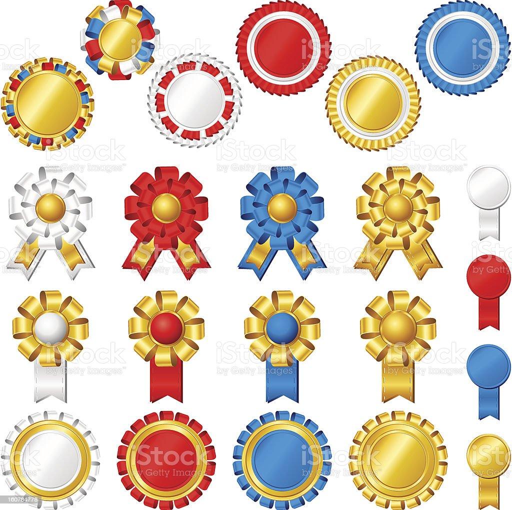 Blank award ribbon rosettes royalty-free stock vector art