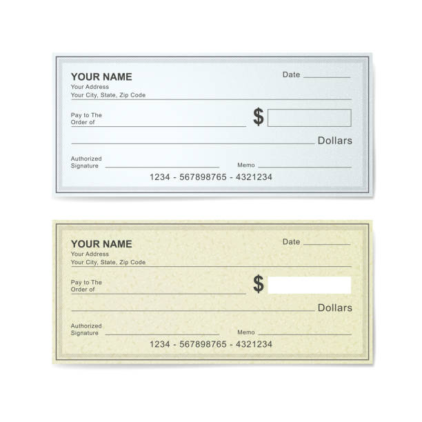blank bank check template blank bank check template isolated on white check financial item stock illustrations