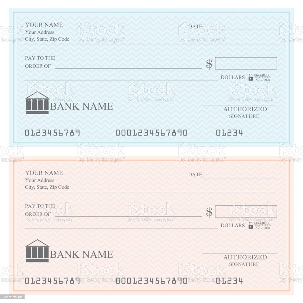 Blank bank checks or cheque book . vector art illustration