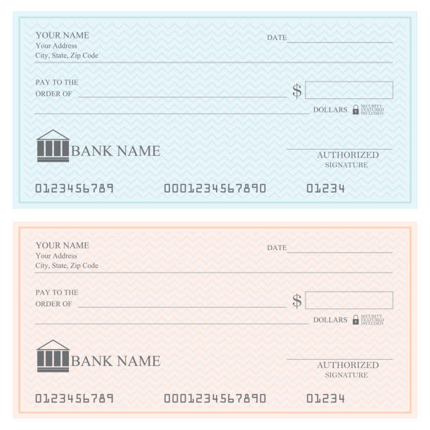 Blank bank checks or cheque book . Blank bank checks or cheque book on colored isolated on white background. check financial item stock illustrations