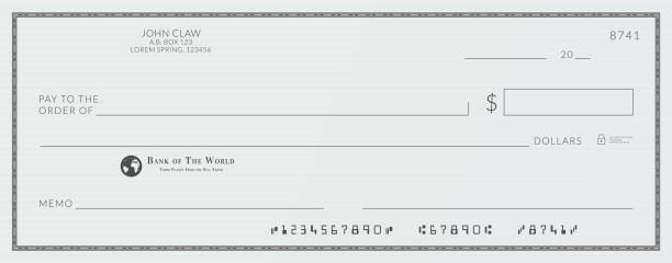 Blank bank cheque. Personal desk check template with empty field to fill. Blank bank cheque. Personal desk check template with empty field to fill check financial item stock illustrations
