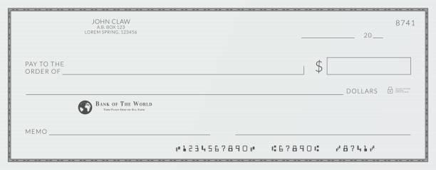 ilustrações de stock, clip art, desenhos animados e ícones de blank bank cheque. personal desk check template with empty field to fill. - bill