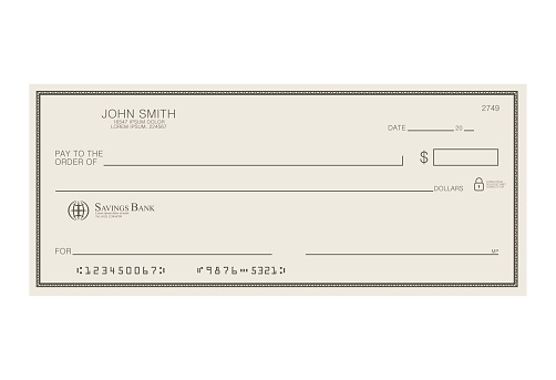 Blank bank cheque. Personal desk check template with empty field to fill. Banknote, money design,currency, bank note, voucher, gift certificate, money coupon vector illustration.