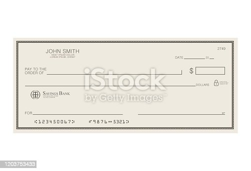 istock Blank bank cheque. Personal desk check template with empty field to fill. Banknote, money design,currency, bank note, voucher, gift certificate, money coupon vector illustration. 1203753433