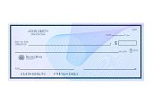 istock Blank bank cheque with abstract watermark. Personal desk check template with empty field to fill. Banknote, money design,currency, bank note, voucher, gift certificate, money coupon vector 1203753403