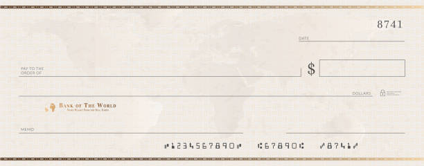 Blank bank golden cheque template. Check from checkbook Blank bank golden cheque template. Check from checkbook. banking borders stock illustrations