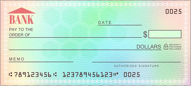 Blank bank multicolored check - Vector