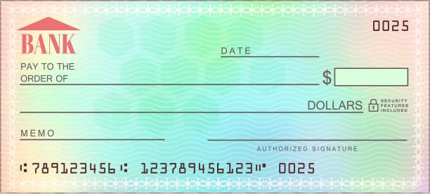 ilustrações, clipart, desenhos animados e ícones de em branco banco multicolorido confira - vetor - cheque