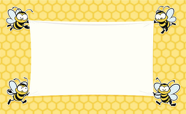 A blank banner decorated with bees Cute bees holding up a banner for your text. bee borders stock illustrations