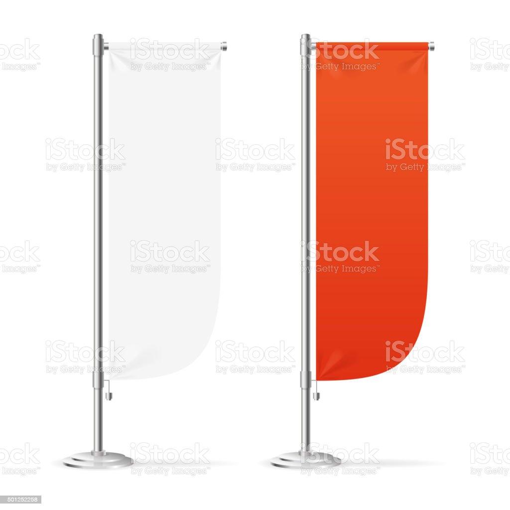 Blank Banner Flag Red and White Set. Vector vector art illustration