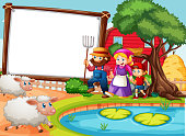 istock Blank banner in farm scene with happy family and many sheeps 1312225991