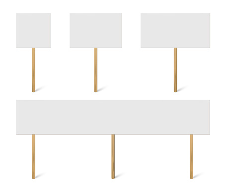 Blank banner mock up on wood stick collection. Vector empty different board plank holder set. Protest signs isolated on white background.