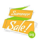 Vector illustration linear style. Bright promotion banner. flat bubble sticker or label. Text on yellow ribbon – big summer sale.