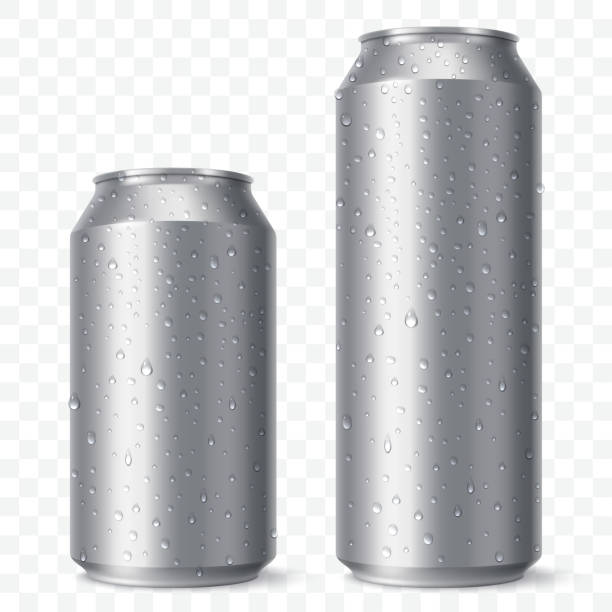 illustrazioni stock, clip art, cartoni animati e icone di tendenza di blank beer can mock up with condensation droplets. small and aig aluminium soda can isolated on transparent background. realistic drink packaging. vector eps 10. - latte