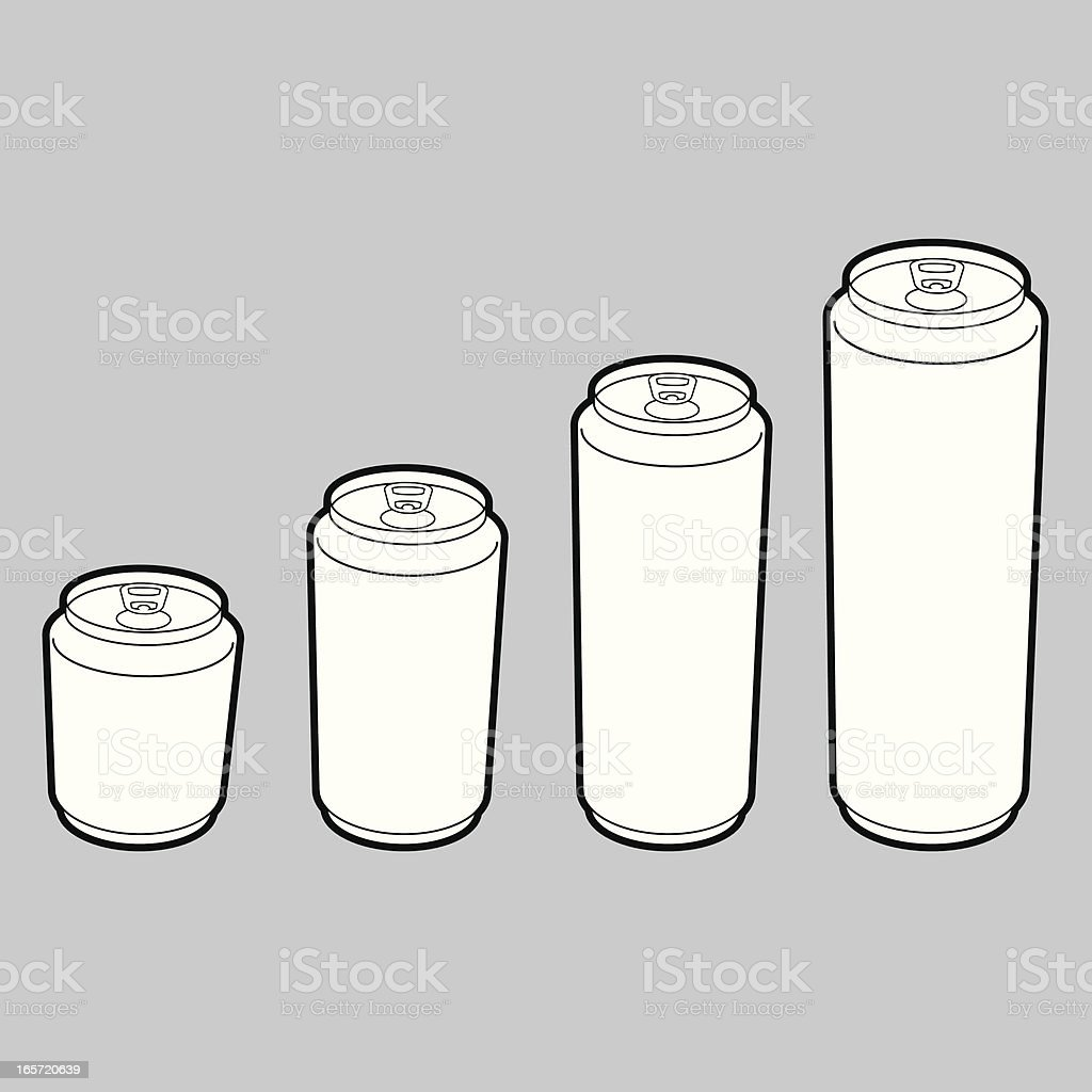 Blank Beverage Cans vector art illustration
