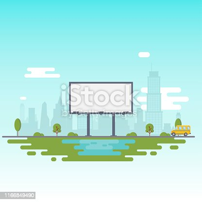 Blank billboard for your inscription. Billboard on the background of the city and a riding school bus. Vector Illustration