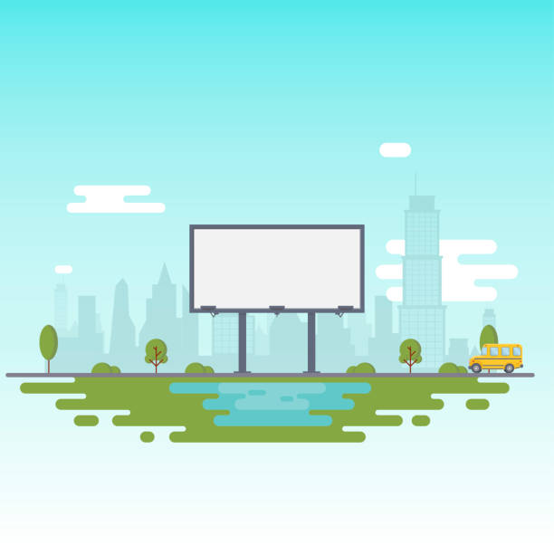 blank billboard for your inscription. billboard on the background of the city and a riding school bus. - group of people stock illustrations