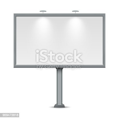 Blank billboard. Illustration isolated on white background. Graphic concept for your design.