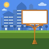Blank billboard in the city, flat style vector illustration.