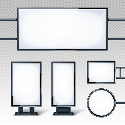 Blank billboards displays, empty white LCD screens or stands for advertising. Horizontal, vertical, round and rectangular blank banners isolated on transparent background, realistic 3d vector set